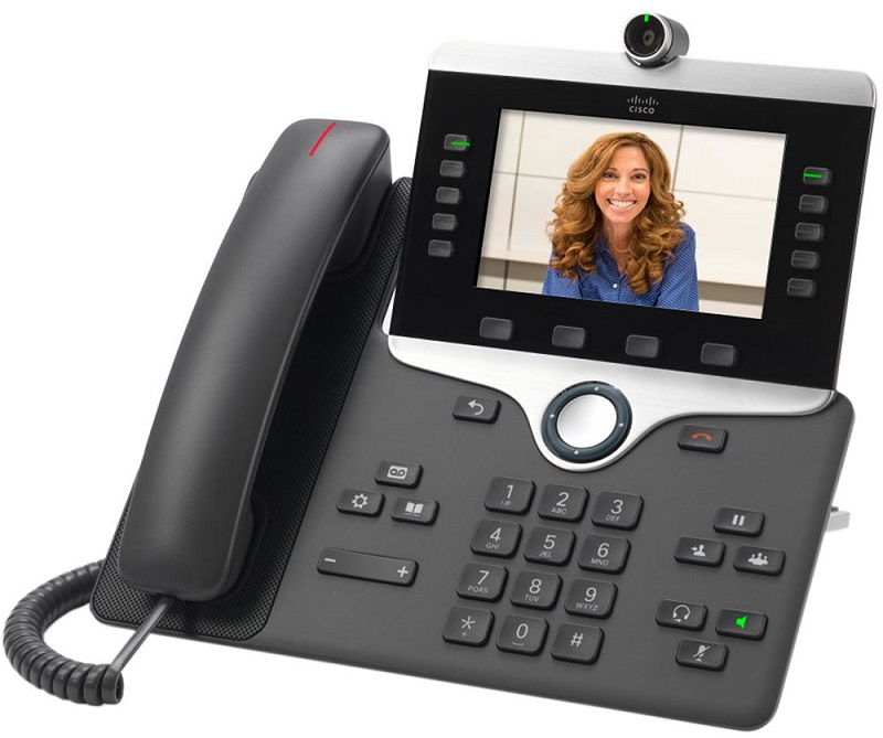Cisco IP Video Phone 8845 POE, Gigabit PC Port, 10 Line SIP, Color Display, Bluetooth with Multiplatform Firmware